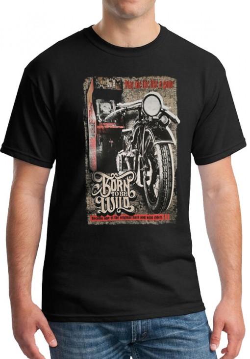 Ανδρικό Κοντομάνικο T-Shirt - Born To Be Wild - Keya - Μαύρο - BT1969