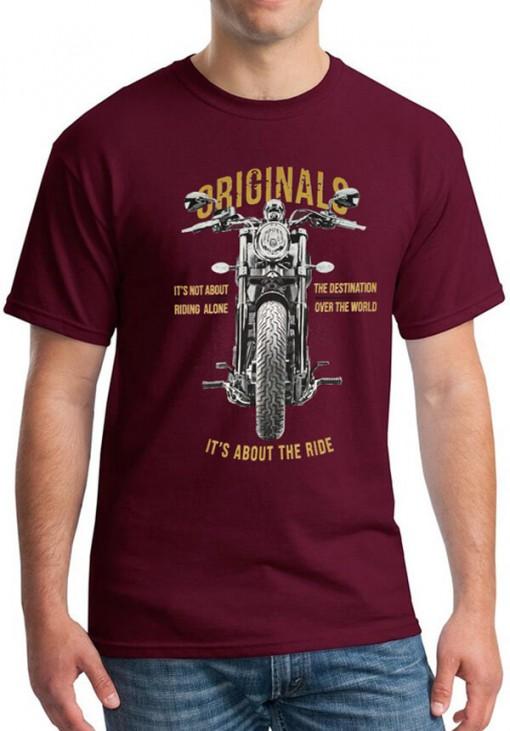 Ανδρικό Κοντομάνικο T-Shirt - RIDE - Keya - Μπορντώ - OR687